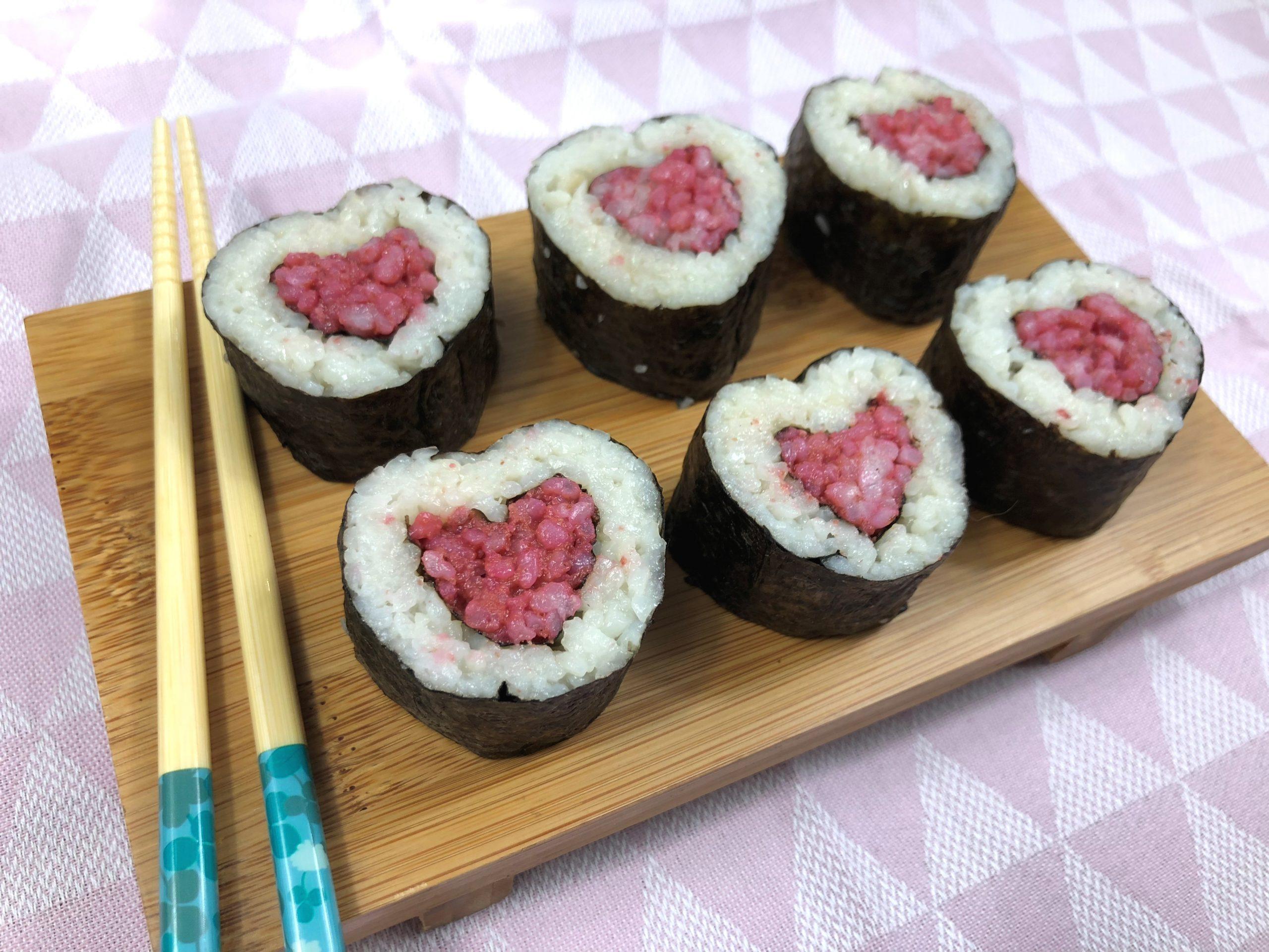 Makis cœur à la betterave pour la Saint-Valentin ❤️