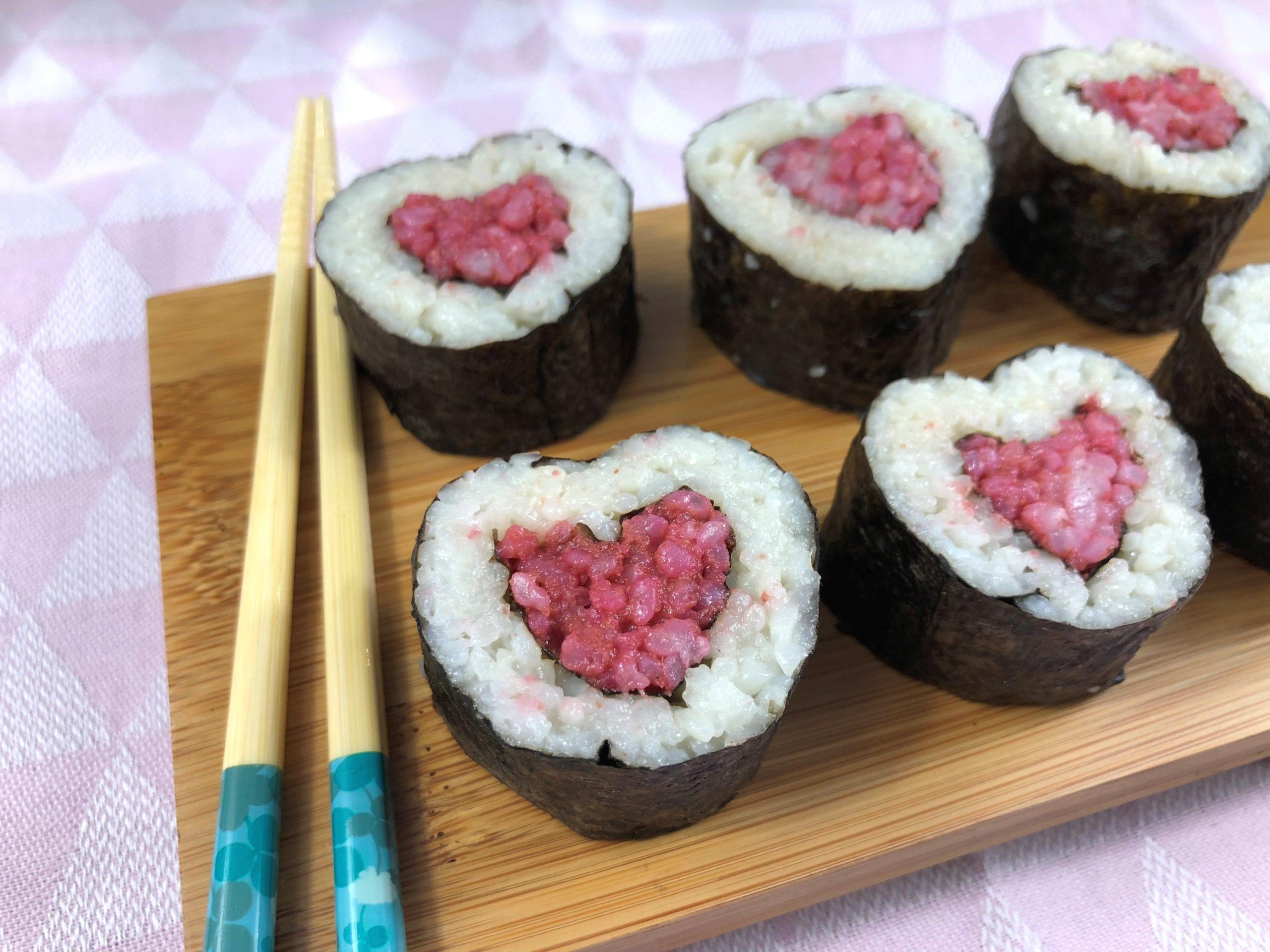 Makis coeur à la betterave pour la Saint-Valentin ❤️